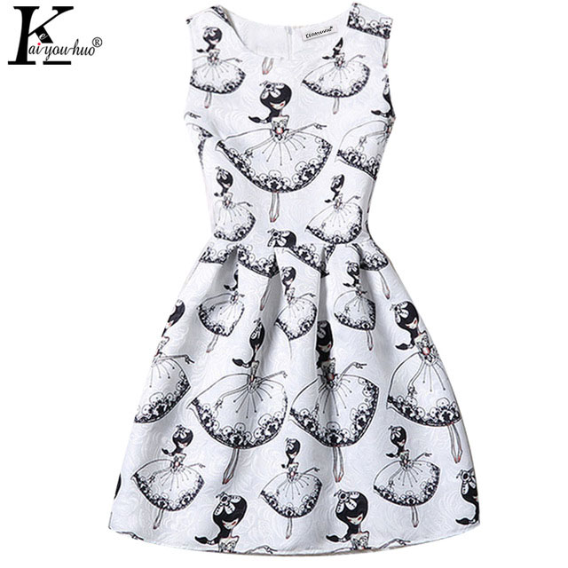 Clothes For Girls Dress Printing Children Clothing Vestidos Summer Teenagers Party Dresses For Girls Sleeveless Costume For Kids  high quality casual cotton striped dress for girls teenagers kids summer sleeveless soft vest vestidos children costume
