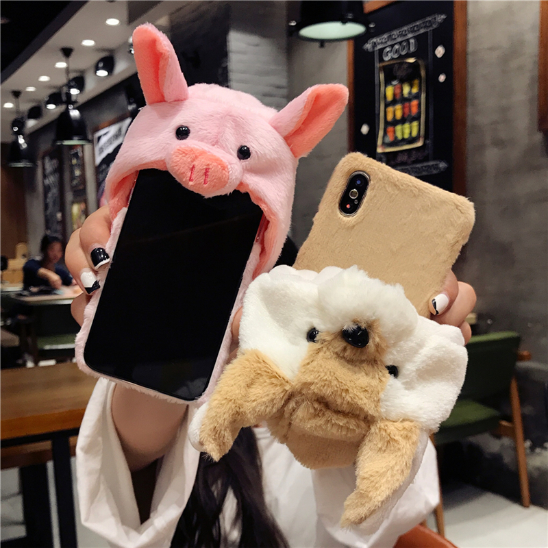 YEMIAO Pig Dog Hat Fur Case For iPhone X 6 6S 7...