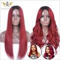 5A 180 Densidad Ombre Rojo Pelucas Para Las Mujeres Negro Rojo Ombre Pelucas Delanteras Del Cordón Del Pelo Humano Con El Pelo Del Bebé