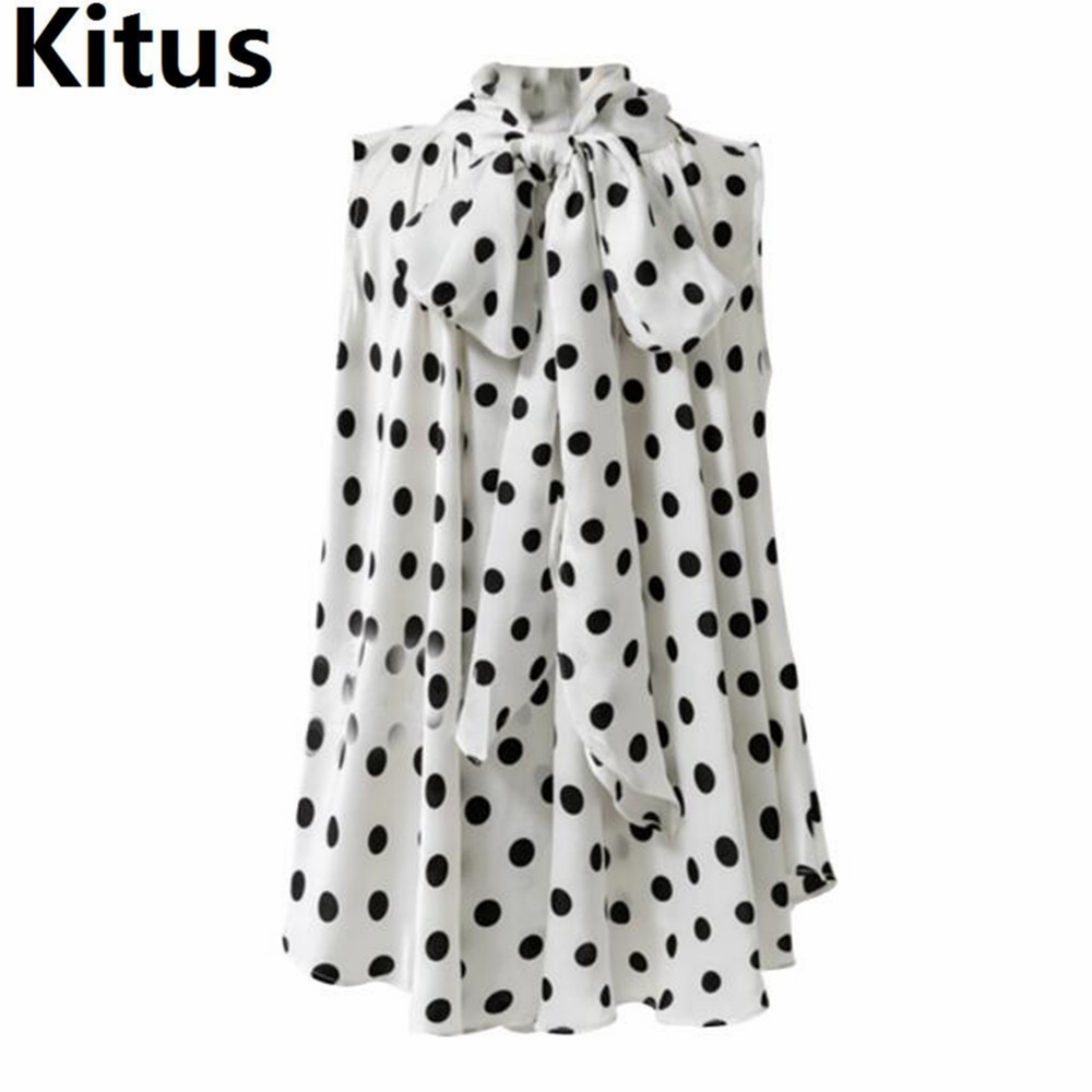 Summer Ladies White shirt Plus Size elegant Polka dot Wome Blouse shirt with bow tie 2018 Fashion Loose tops 5XL Casual Clothing