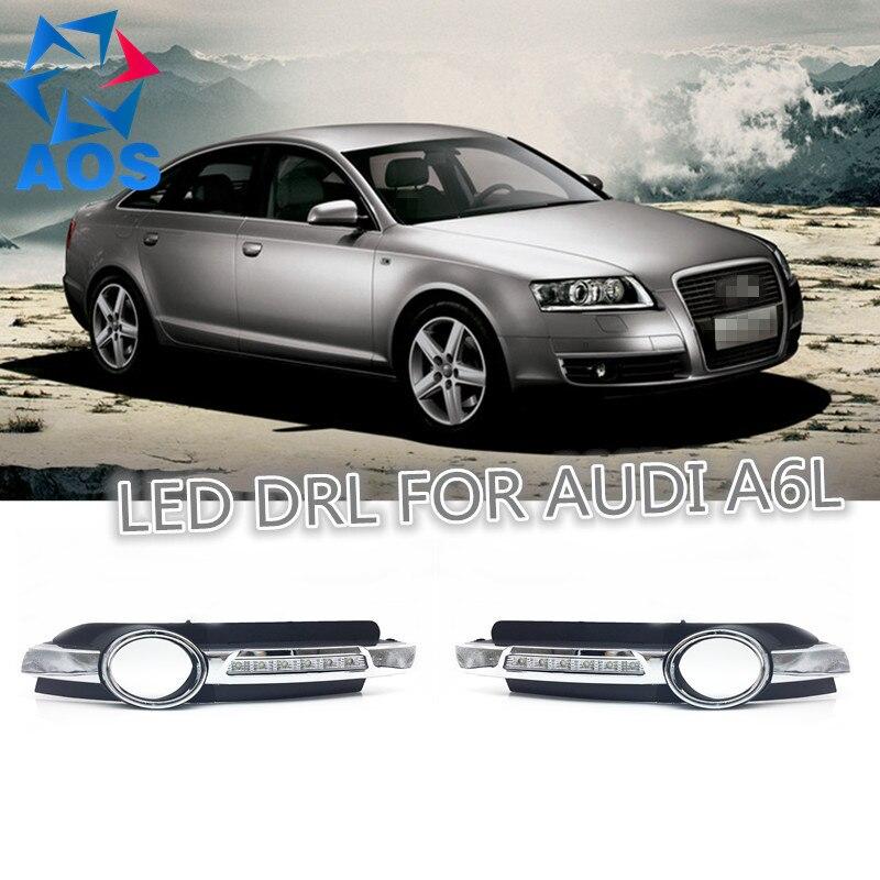 2 Adet/takım Araba styling DRL led Gün Işığı Için su geçirmez Araba Gündüz farları Audi A6 A6L C6 2005 2006 2007 2008