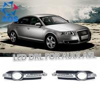 2 Unids/set Car styling DRL led Luz impermeable Del Coche luces de Circulación Diurna Para Audi A6 A6L C6 2005 2006 2007 2008