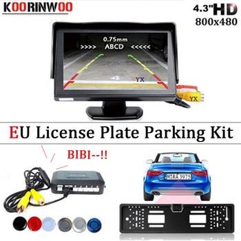 Koorinwoo 2.4GHZ wireless EU European License Plate Frame parking sensor with Car Monitor Rear View Camera Reverse backup Auto