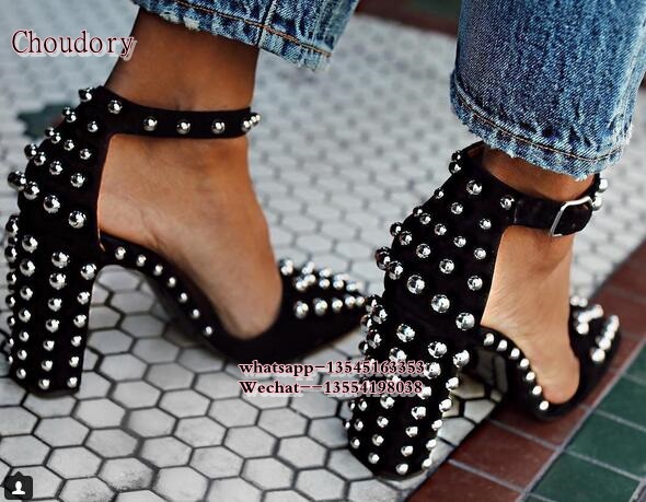 Suede black New Chunky High Heels Shoes Woman Rivet Studded Women Pumps Square Toe Ankle Buckle Femme Chunky Heel Pumps Shoes hooded graphic print long sleeve hoodie