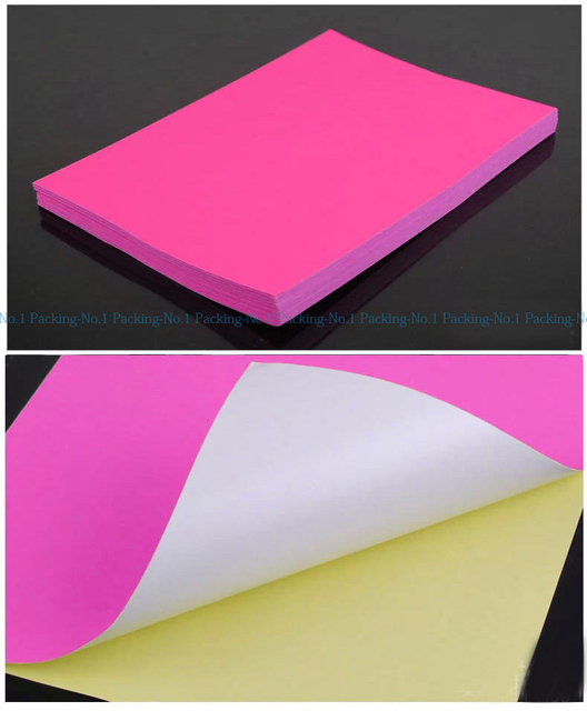 100 sheets pack fluorescent pink neon a4 self adhesive paper