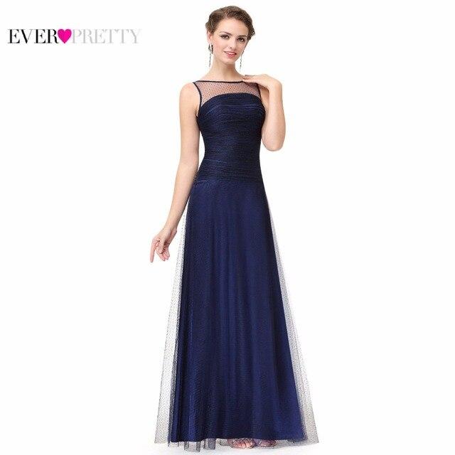 Navy Blue Sleeveless Floor Length Evening Dress with Illusion Neckline Ever Pretty EP08882 A-line Formal Evening Dress