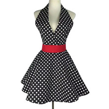 Lovely Retro Aprons for Women Cute Adjustable Cotton Sexy V-Necked Polka Dot Black Apron Classic Big Wave