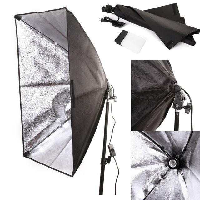 "50x70 cm / 20"" x 28"" Studio Light Softbox Umbrella E27 Socket Light Lamp Bulb Head Lighting"