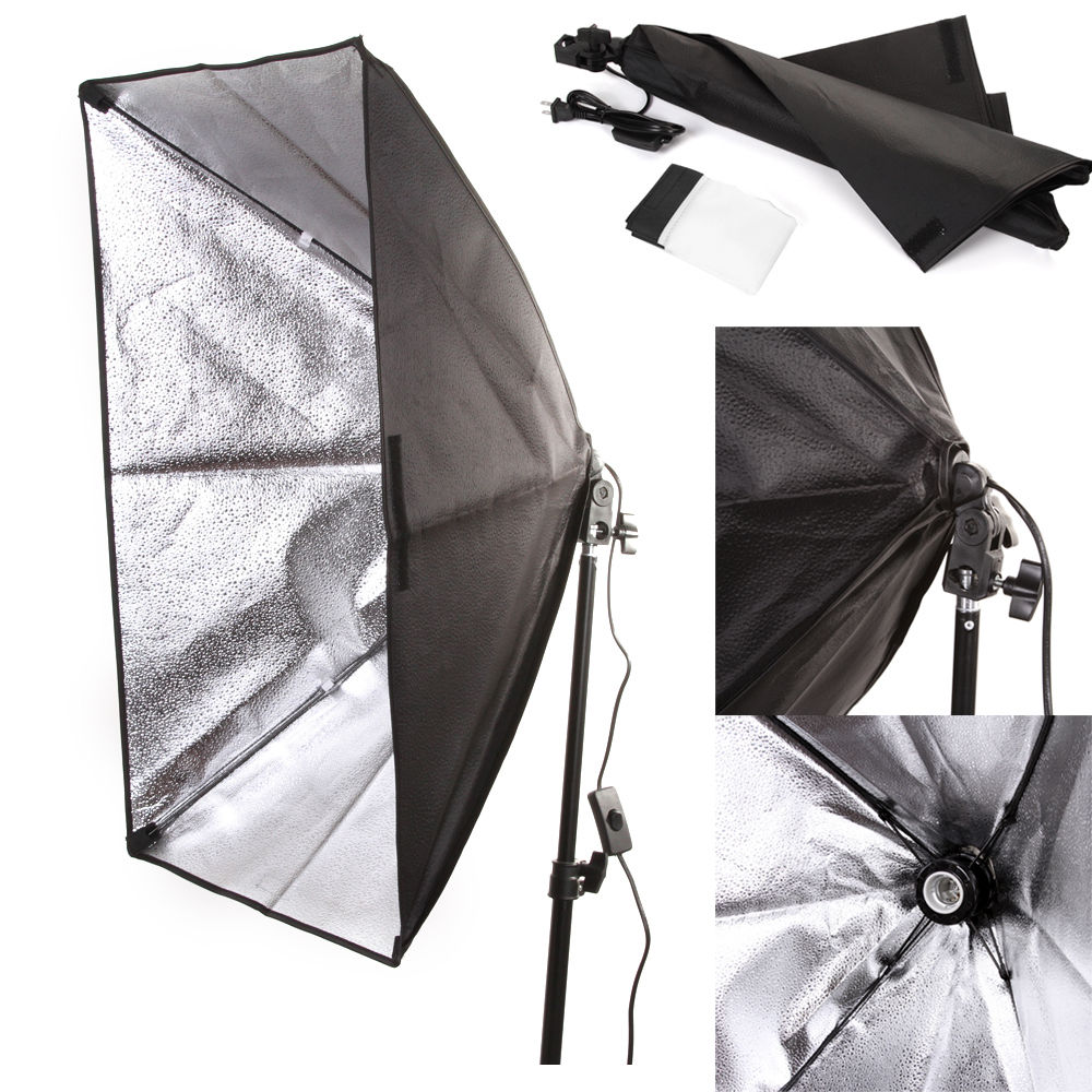50x70 cm / 20 x 28 Studio Light Softbox Umbrella E27 Socket Light Lamp Bulb Head Lighting