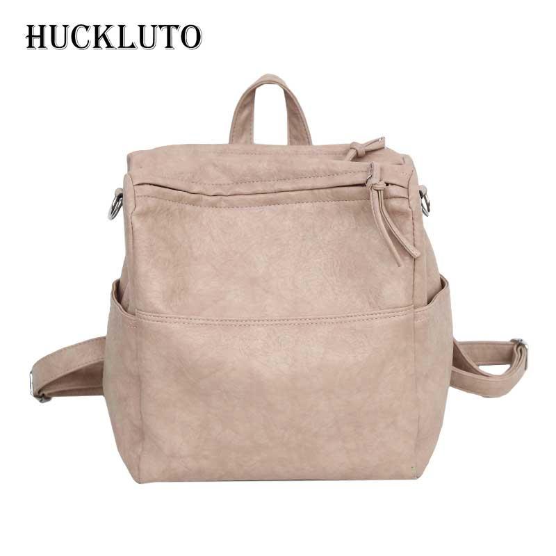Бренд HuckLuto, новинка 2019, ограниченное время, скидка, повседневный тренд, плиссированный, на молнии, маленький, белый, черный, кожаный женский рюкзак