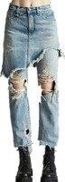 Moda benzersiz delik bitirme retro sahte iki parçalı ince kot pantolon kalem kadın sokak stili yüksek bel kot D429