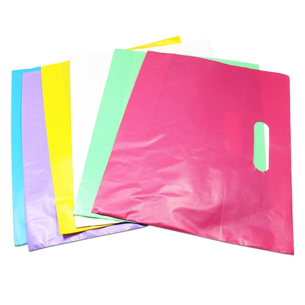 DHL 350 Stks/partij Herbruikbare Boodschappentas Kleurrijke Plastic Boodschappentassen met Handvat Boutique Kleding Gift Wedding Party Handgrepen-in Geschenktasjes & Inpak Benodigheden van Huis & Tuin op  Groep 1