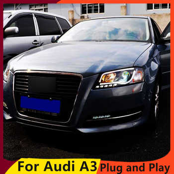 KOWELL Car Styling Car Styling For AUDI A3 headlights 2008-2012 For A3 head lamp led DRL front Bi-Xenon Lens Double Beam HID KIT - Category 🛒 Automobiles & Motorcycles