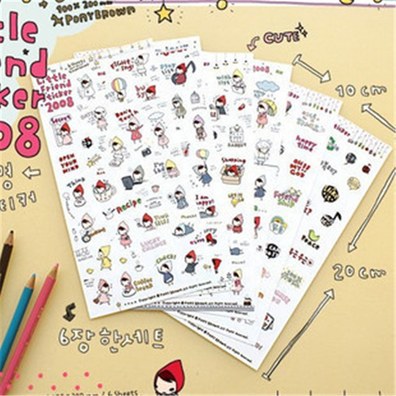 G212 Creative Stationery Cute Cartoon Little Red Cap Sticker Diary Handset Decorative Sticker Creative Small Gift Stationery