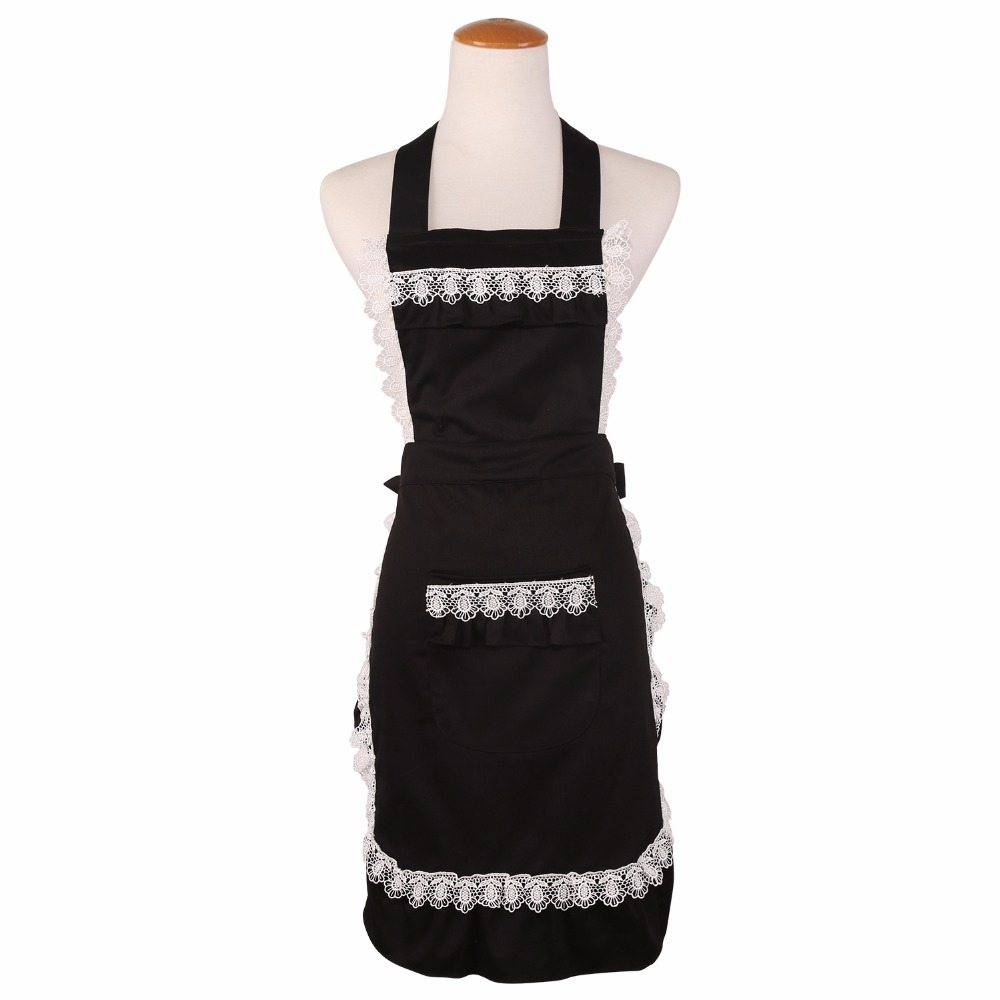 White frilly apron nz - Cotton Cute Funny Lace Aprons For Women Kitchen Cooking Coffee Tea Shop Waitress Pinafore Black White Maid Bib Apron Hot Sale
