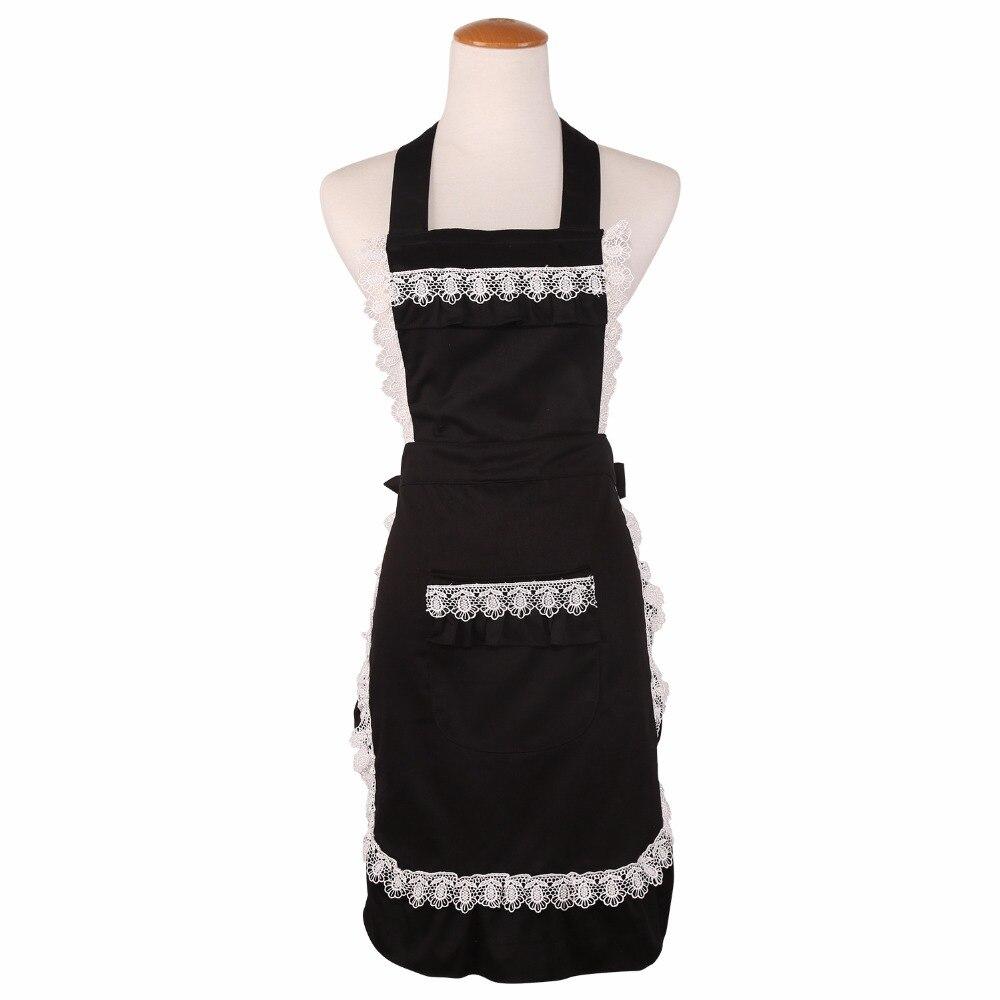 White tea apron - Cotton Cute Funny Lace Aprons For Women Kitchen Cooking Coffee Tea Shop Waitress Pinafore Black