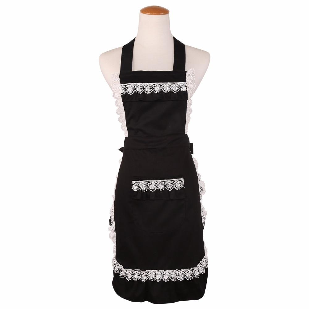 White apron maid - Cotton Cute Funny Lace Aprons For Women Kitchen Cooking Coffee Tea Shop Waitress Pinafore Black White Maid Bib Apron Hot Sale