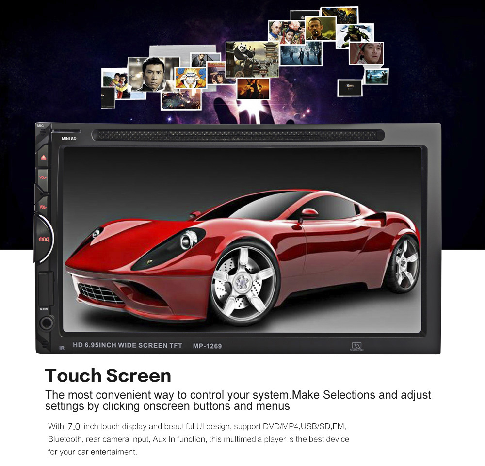 170 Degree View Angle Car DVD PC Player Bluetooth Radio Double Din 32GB Car DVD Player Stereo Video Digital Touch Screen joyous j 2611mx 7 touch screen double din car dvd player w gps ipod bluetooth fm am radio rds