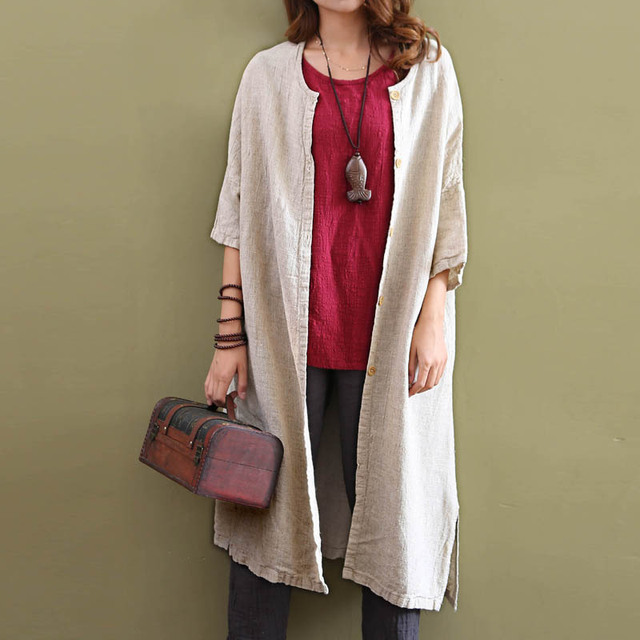 Women Spring Cotton Original Vintage Linen Shirt Ladies casual cardigan Loose Overcoat Long Trench Coat Summer