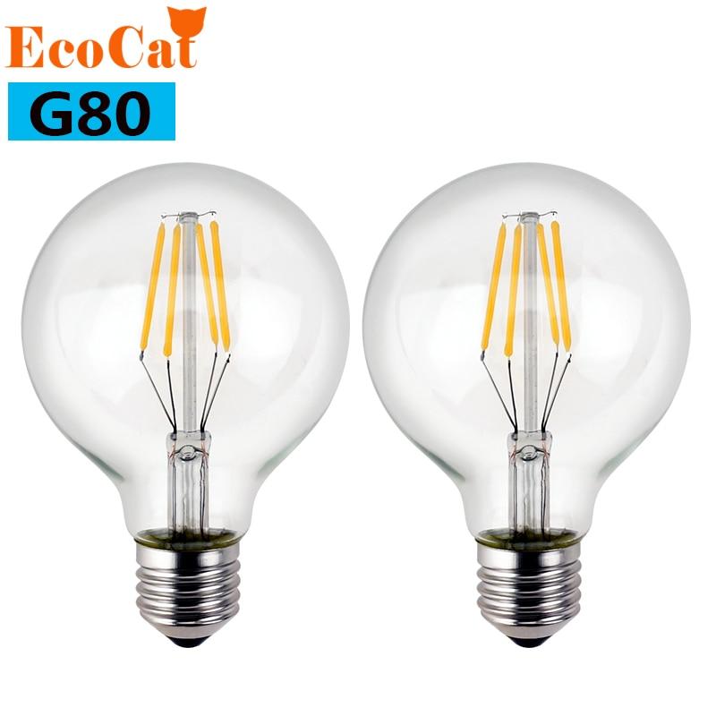 ECOCAT Edison LED lamp E27 AC 220V 240V led bulb G80 Filament Light Glass Blub Lamps 4W 6W 8W  chandelier Replace Incandescent edison led filament bulb g125 big global light bulb 2w 4w 6w 8w led filament bulb e27 clear glass indoor lighting lamp ac220v
