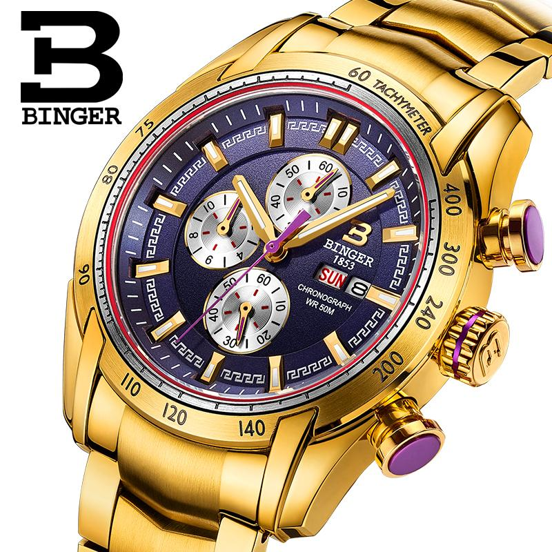 Switzerland men s watch luxury brand Wristwatches BINGER Quartz watch Chronograph Diver glowwatch B1163 8
