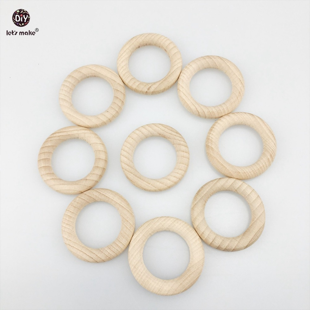 Lets Make  Baby Teether 50pc Beech Wooden Round Wood Ring 40mm DIY Bracelet Crafts Gift Teething Accessory Nursing Bangles