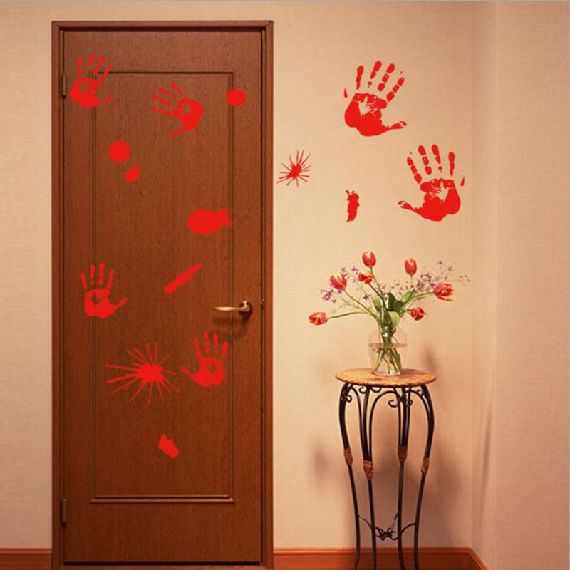 1pc Feet Floor Wall Stickers Red Blood Decals Window Sticker Halloween Decorations Home Decor In From Garden On