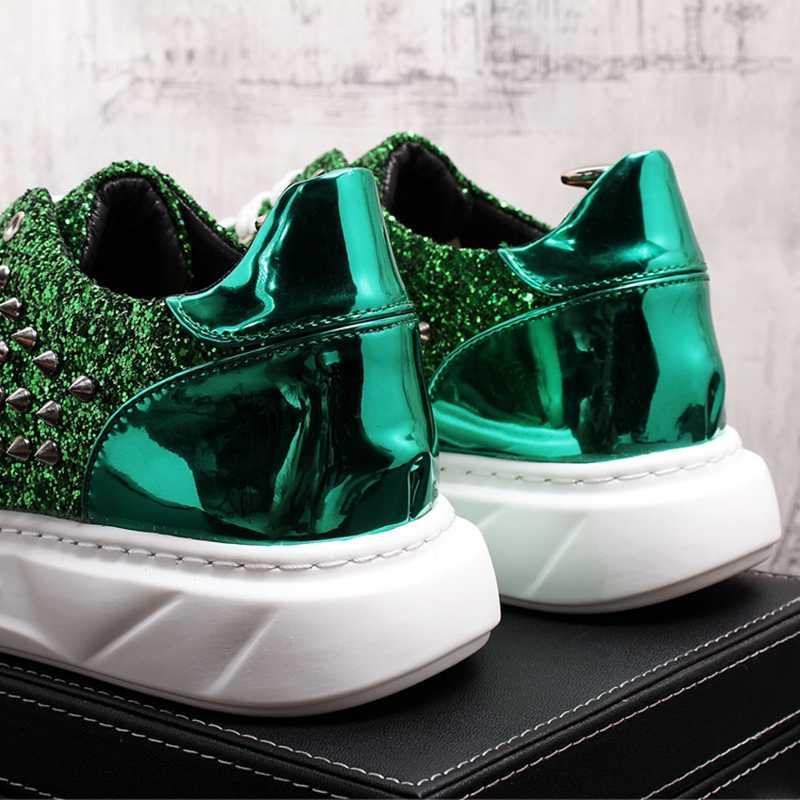 Stephoes 新男性ファッションカジュアルシューズ春秋リベットパンクスタイルローファー男性ラウンドトゥナイトクラブトレンド靴