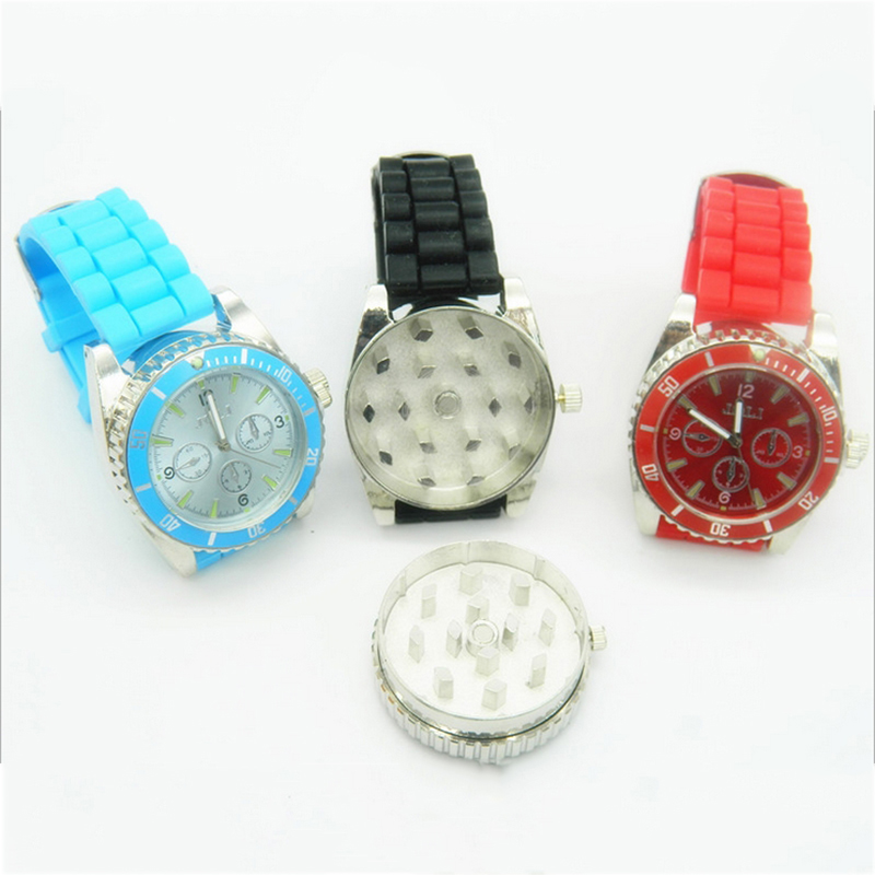 Metal Wrist Watch Herb Spice Cigar Tobacco Grinder Smoking Pipe Hand Crusher Watch Style Gift Smoke Filter Tobacco Pipes