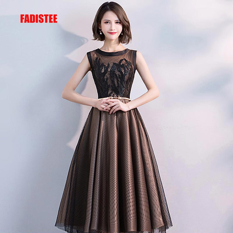FADISTEE New arrival modern party   dress     evening     dresses   prom lace pattern A-line O-neck elegant 2019 gold sashes
