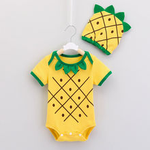 Newborn Infant Baby Girl Boy 3D Pineapple Short-Sleeved O-neck Romper Bodysuit Sunsuit Hat Clothes Toddler Babies Cute Clothing(China)