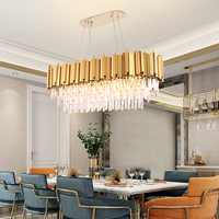 Luxury rectangle crystal chandelier for dining room modern chandeliers lighting gold polished steel hanglamp kitchen island lamp