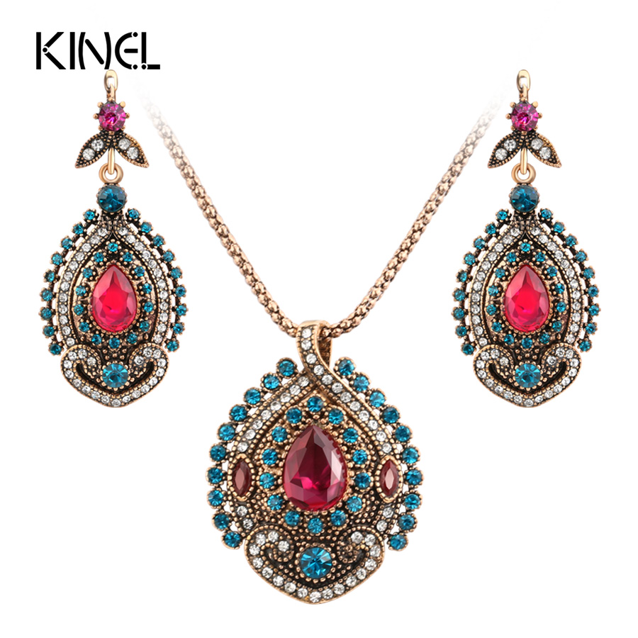 Kinel 2Pcs Vintage Jewelry Sets For Women Antique Gold Pink Crystal Wedding Party Earrings Necklace Ring Female Turkish Jewelry blucome vintage water drop green crystal jewelry sets for women party accessories turkish bronze color bangle ring earrings set