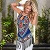 Tassel Print Women Tank Top Summer Beach Pattern Vest Sexy Hollow Beach Tops Casual Bohemian Style