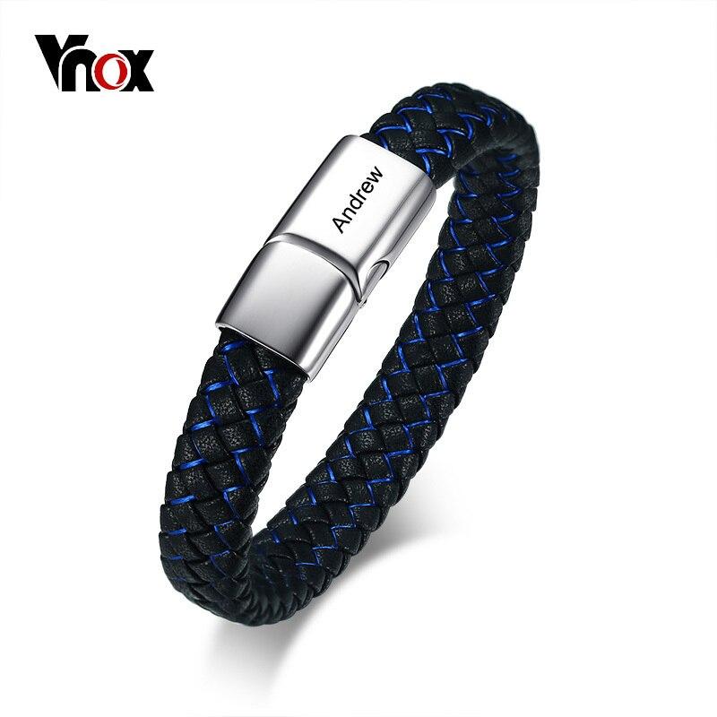 Vnox Gravable Hommes Bracelet ID Bracelet Bleu Noir Tressé Véritable En Cuir Femmes Bracelet En Acier Inoxydable Mâle Bijoux