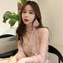 Hong Kong-style retro Korean version of chic bow tie with pearl lotus leaf sleeve gauze jacket + suspender vest two sets MP218(China)