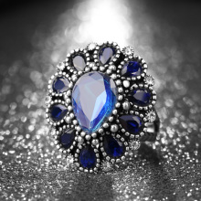 Fashion Blue Crystal Flower Vintage Rings For Women