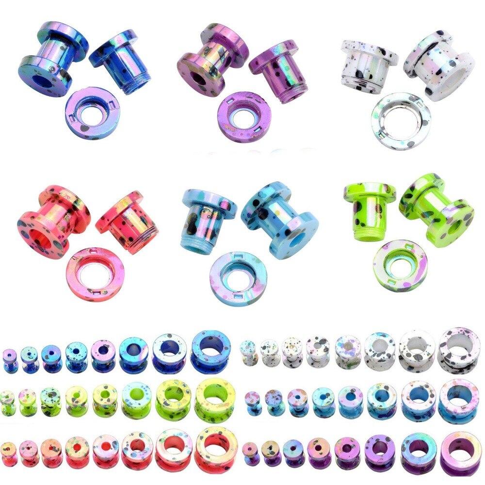 Gauges Jewelry Earring Expanders Studs-Tunnel Piercings Acrylic-Ear-Plugs Flesh Hollow