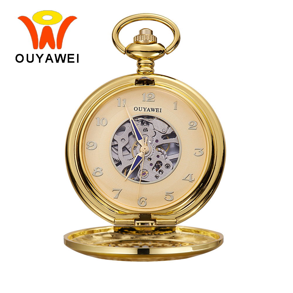 Ouyawei 2017 Luxury Gold Skeleton Mechanical Pocket Watch With Chain Men Retro Hand Wind Clock Necklace Pocket & Fob Watches new black skeleton five star luxury hot stylish retro cool crown pattern hand wind mechanical pocket watch supernatural gift