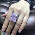 YP Wedding 925 Sterling Silver Large Square Zircon Finger Ring Women Created Diamond Wedding Jewelry AP Design