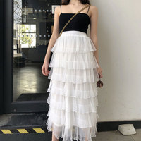 2018 summer new women lace mesh skirts office lady tutu cake solid sweet skirt top quality