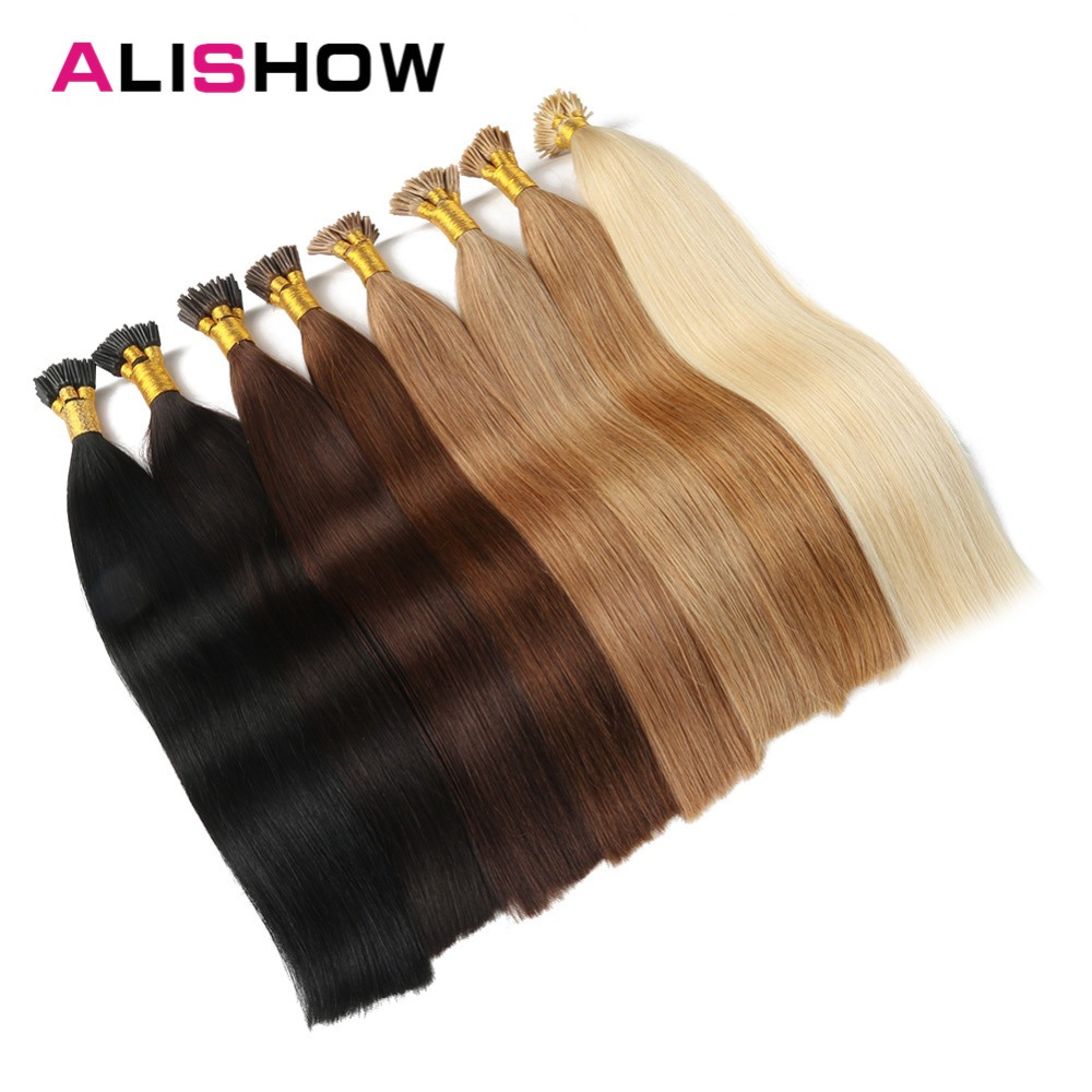 Alishow 1g/s UPS Free Shipping Remy Pre Bonded Human Hair Extension Straight Fusion Hair Keratin Capsules I Tip Colorful Hair