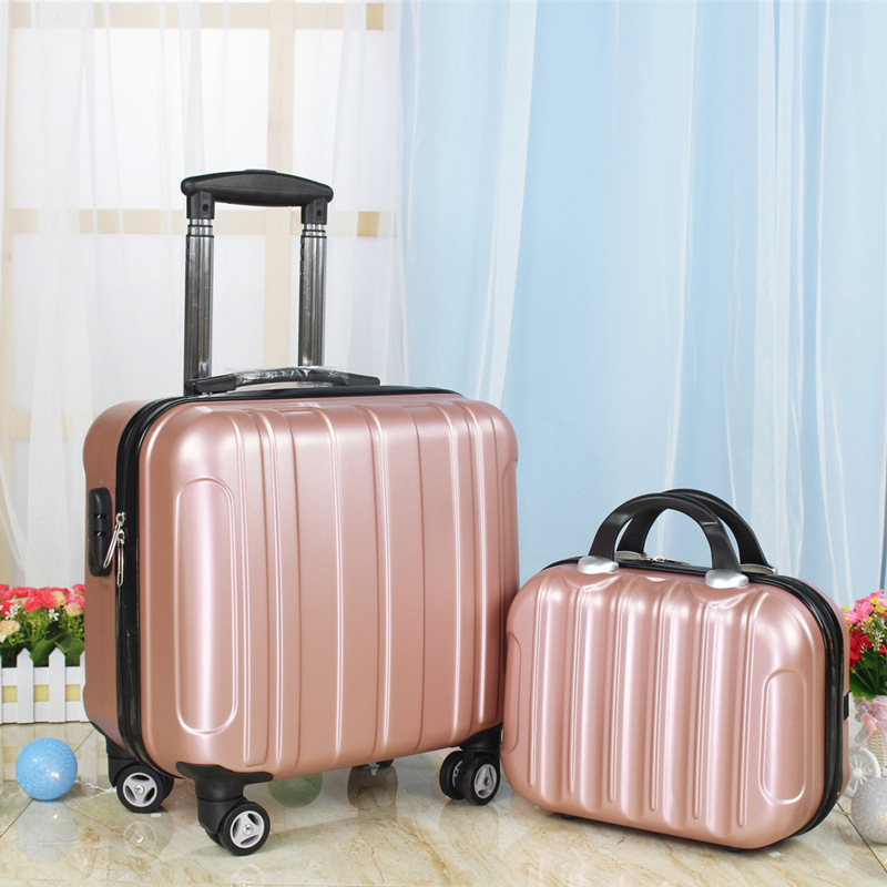 14 inch Cosmetic Make up Storage suitcase box and Spinner rolling luggage set kid malas deffle недорго, оригинальная цена