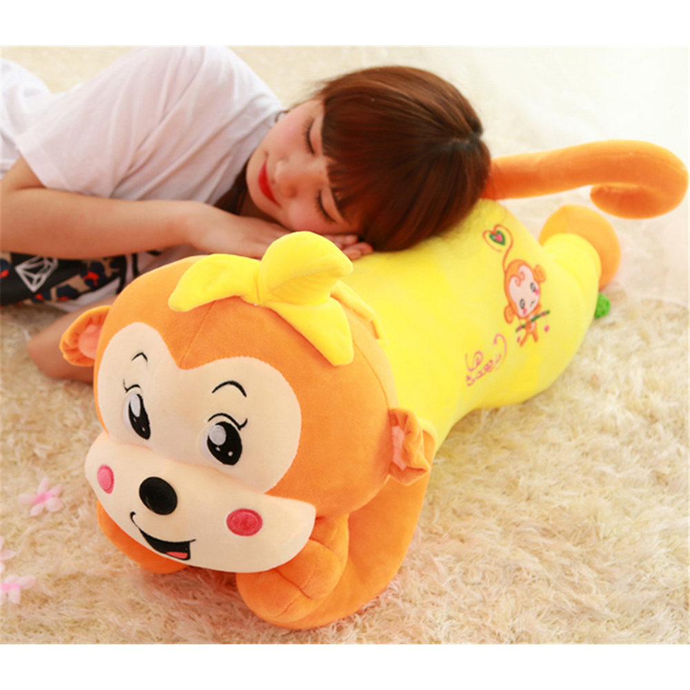 Fancytrader Large Stuffed Plush Lying Cartoon Monkey Toy Soft Anime Monkey Pillow Doll 90cm 35inch 4 Colors Available fancytrader 63 160cm cute jumbo giant plush stuffed hippo toy nice birthday gift 5 colors available free shipping ft50043