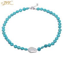 JYX Ping style Turquoise Necklace 10mm Blue Turquoise Beads dotted a White baroque Irregular 20*26mm Pearl Pendant 19.5