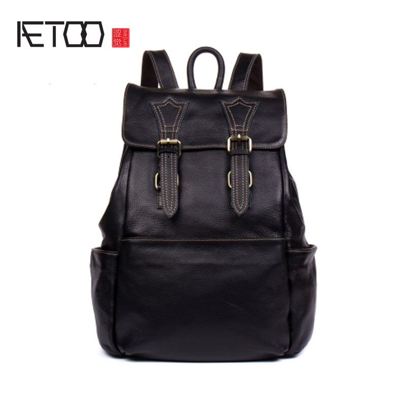 AETOO First layer of leather shoulder bag men and women leather backpack leisure travel bag computer bag trend aetoo canvas shoulder bag men travel bag leisure mountaineering bag with leather backpack