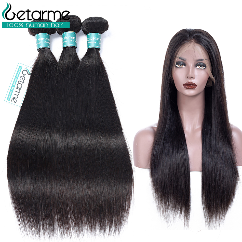 Brazilian Straight Hair 360 Lace Frontal With Bundle 100% Human Hair With Pre-plucked Lace Frontal Natural Non Remy Black Hair 3/4 Bundles With Closure