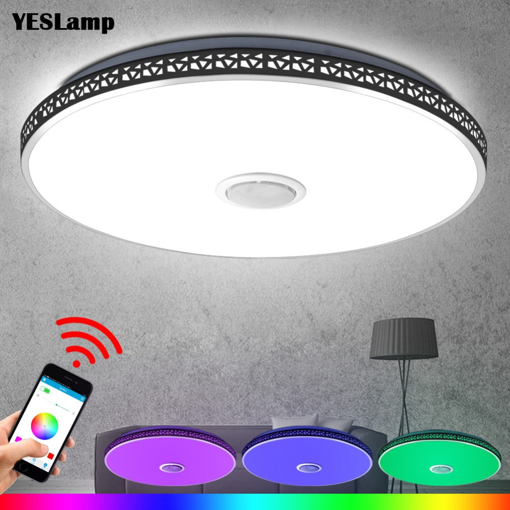 Us 17 9 modern bluetooth speaker led ceiling light remote control rgb dimmable music lamp living room lighting fixture bedroom smart in ceiling