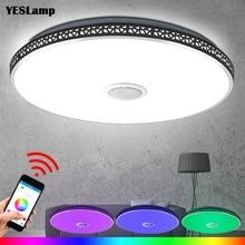 Nowoczesny głośnik led na bluetooth lampa sufitowa pilot RGB możliwość przyciemniania muzyczna lampa oświetlenie do salonu oprawa sypialnia Smart