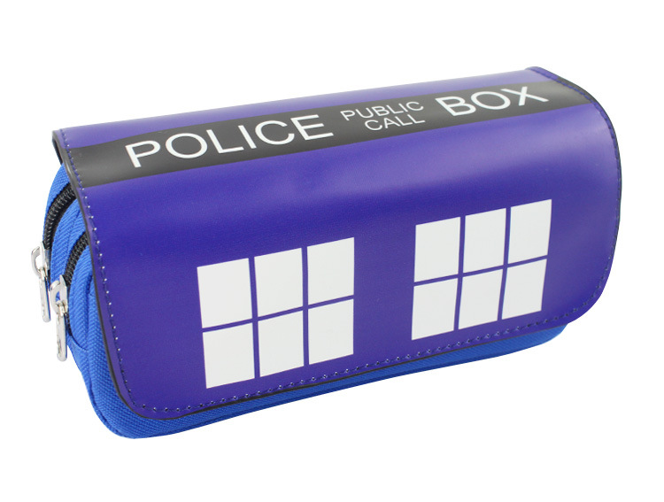 Dr Mysterious Pen Bag Purse Blue Box Big Capacity Double Zipper Pencil Case Stationery PU Leather Doctor Who Cosmetic Bag big capacity high quality canvas shark double layers pen pencil holder makeup case bag for school student with combination coded lock